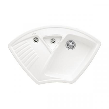 Villeroy&Boch Arena Corner Zlewozmywak ceramiczny 1-komorowy CeramicPlus 97,5x62,5 cm narożny do wbudowania, bez ociekacza, biały Stone White 672901RW