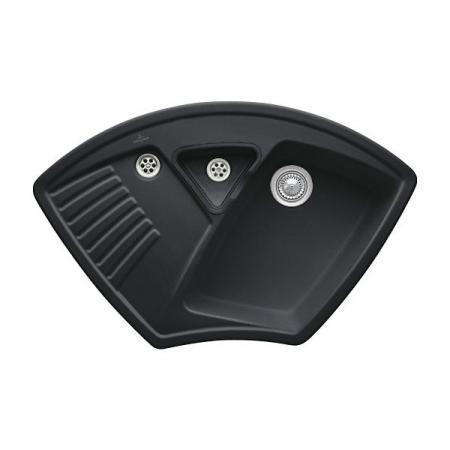 Villeroy&Boch Arena Corner Zlewozmywak ceramiczny 1-komorowy CeramicPlus 97,5x62,5 cm narożny do wbudowania, bez ociekacza, czarny Ebony 672901S5