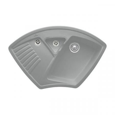 Villeroy&Boch Arena Corner Zlewozmywak ceramiczny 1-komorowy CeramicPlus 97,5x62,5 cm narożny do wbudowania, bez ociekacza, szary Stone 672901SL