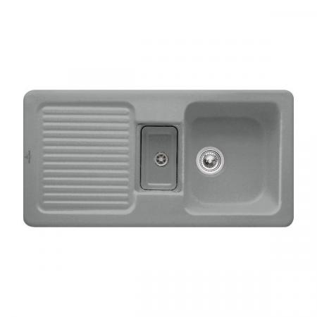 Villeroy&Boch Condor 60 Zlewozmywak ceramiczny 1,5-komorowy CeramicPlus 100x51 cm do wbudowania, z ociekaczem, szary Stone 675901SL