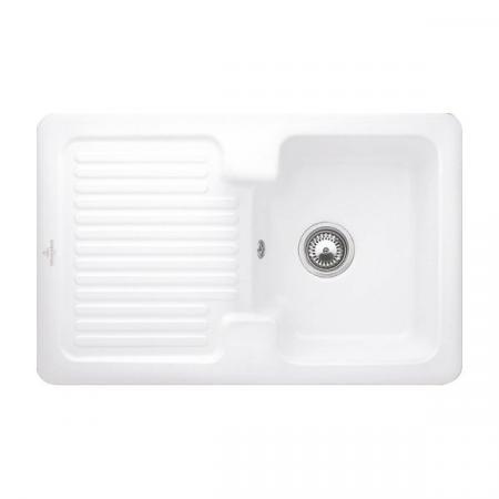 Villeroy&Boch Condor 80 Zlewozmywak ceramiczny 1-komorowy CeramicPlus 80x51 cm do wbudowania, z ociekaczem, biały Stone White 674501RW