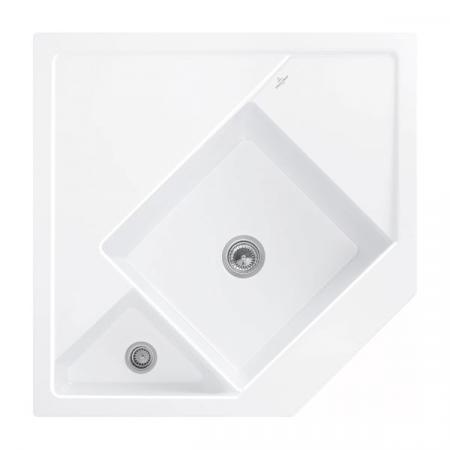 Villeroy&Boch Monumentum Zlewozmywak ceramiczny półtorakomorowy CeramicPlus 89,6x89,6 cm narożny biały Snow White 330301KG