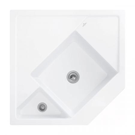 Villeroy&Boch Monumentum Zlewozmywak ceramiczny półtorakomorowy CeramicPlus 89,6x89,6 cm narożny biały Stone White 330301RW
