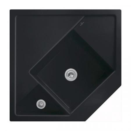 Villeroy&Boch Monumentum Zlewozmywak ceramiczny półtorakomorowy CeramicPlus 89,6x89,6 cm narożny czarny Ebony 330301S5