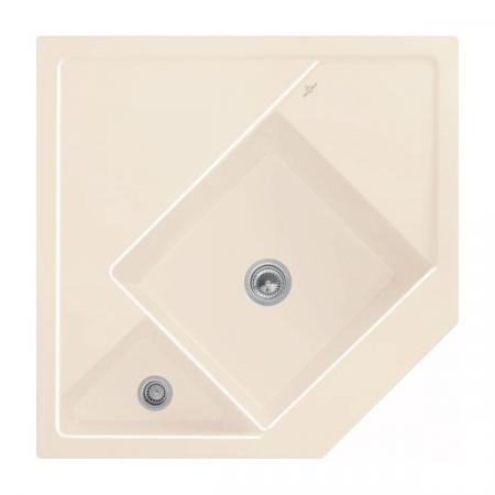Villeroy&Boch Monumentum Zlewozmywak ceramiczny półtorakomorowy CeramicPlus 89,6x89,6 cm narożny kremowy Crema 330301KR