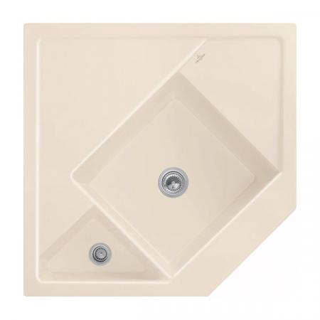 Villeroy&Boch Monumentum Zlewozmywak ceramiczny półtorakomorowy CeramicPlus 89,6x89,6 cm narożny kremowy Ivory 330301FU