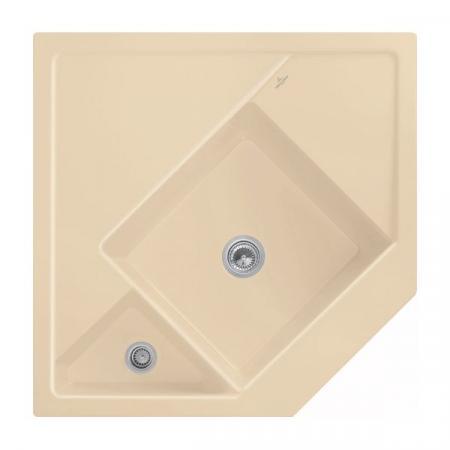 Villeroy&Boch Monumentum Zlewozmywak ceramiczny póltorakomorowy CeramicPlus 89,6x89,6 cm narożny piaskowy Sand 330301i5