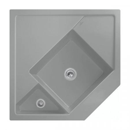 Villeroy&Boch Monumentum Zlewozmywak ceramiczny półtorakomorowy CeramicPlus 89,6x89,6 cm narożny szary Stone 330301SL