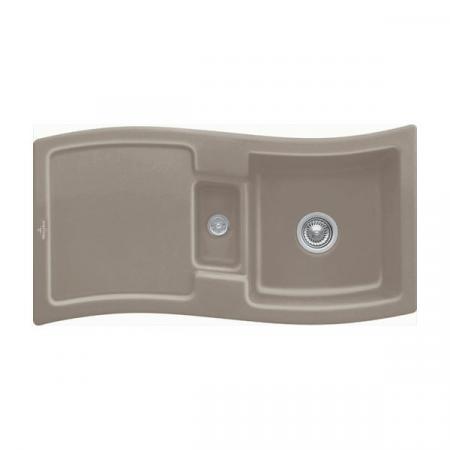 Villeroy&Boch New Wave 60 Zlewozmywak ceramiczny 1,5-komorowy CeramicPlus 98x51 cm do wbudowania, z ociekaczem, jasnobrązowy, drewniany Timber 671601TR