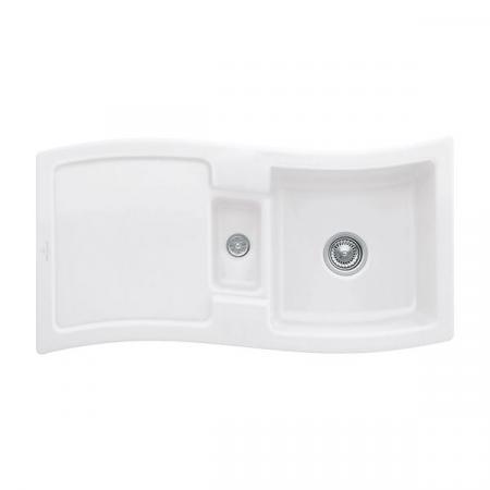 Villeroy&Boch New Wave 60 Zlewozmywak ceramiczny 1,5-komorowy CeramicPlus 98x51 cm z korkiem pop-up, do wbudowania, z ociekaczem, biały Stone White 671602RW