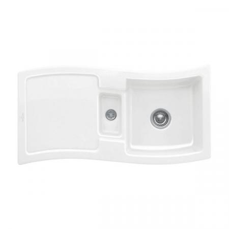 Villeroy&Boch New Wave 60 Zlewozmywak ceramiczny 1,5-komorowy CeramicPlus 98x51 cm z korkiem pop-up, do wbudowania, z ociekaczem, biały Weiss Alpin 671602R1