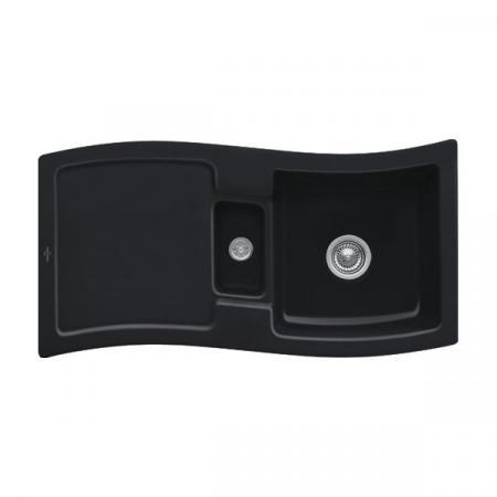 Villeroy&Boch New Wave 60 Zlewozmywak ceramiczny 1,5-komorowy CeramicPlus 98x51 cm z korkiem pop-up, do wbudowania, z ociekaczem, czarny Ebony 671602S5