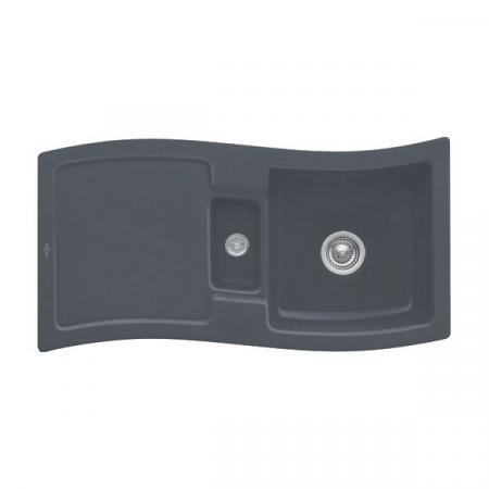 Villeroy&Boch New Wave 60 Zlewozmywak ceramiczny 1,5-komorowy CeramicPlus 98x51 cm z korkiem pop-up, do wbudowania, z ociekaczem, grafitowy Graphite 671602I4