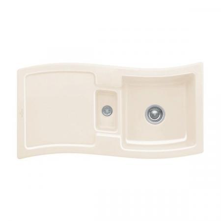Villeroy&Boch New Wave 60 Zlewozmywak ceramiczny 1,5-komorowy CeramicPlus 98x51 cm z korkiem pop-up, do wbudowania, z ociekaczem, kremowy Crema 671602KR