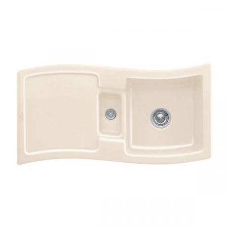 Villeroy&Boch New Wave 60 Zlewozmywak ceramiczny 1,5-komorowy CeramicPlus 98x51 cm z korkiem pop-up, do wbudowania, z ociekaczem, kremowy Ivory 671602FU