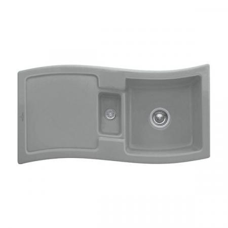 Villeroy&Boch New Wave 60 Zlewozmywak ceramiczny 1,5-komorowy CeramicPlus 98x51 cm z korkiem pop-up, do wbudowania, z ociekaczem, szary Stone 671602SL