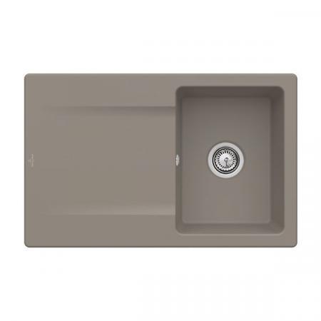 Villeroy&Boch Siluet 45 Flat Zlewozmywak ceramiczny 1-komorowy CeramicPlus 78x49 cm na równi z blatem, z ociekaczem, jasnobrązowy, drewniany Timber 33341FTR