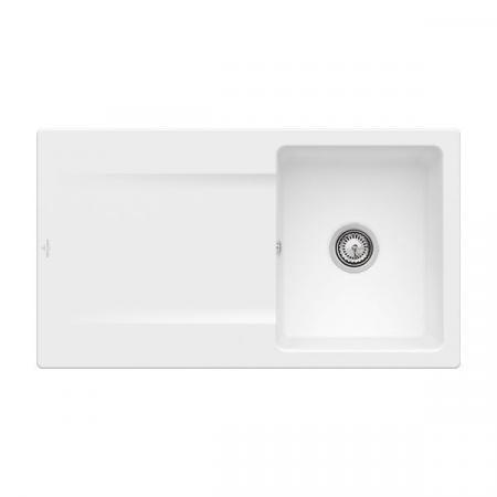 Villeroy&Boch Siluet 50 Flat Zlewozmywak ceramiczny 1-komorowy CeramicPlus 88x49 cm na równi z blatem, z ociekaczem, biały Stone White 33351FRW