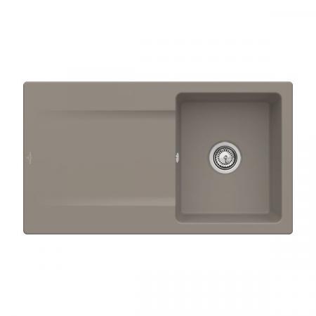 Villeroy&Boch Siluet 50 Flat Zlewozmywak ceramiczny 1-komorowy CeramicPlus 88x49 cm na równi z blatem, z ociekaczem, jasnobrązowy, drewniany Timber 33351FTR