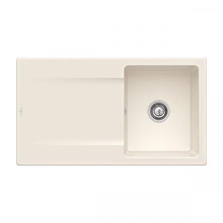 Villeroy&Boch Siluet 50 Flat Zlewozmywak ceramiczny 1-komorowy CeramicPlus 88x49 cm na równi z blatem, z ociekaczem, kremowy Crema 33351FKR