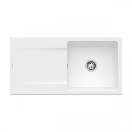 Villeroy&Boch Siluet 60 Flat Zlewozmywak ceramiczny 1-komorowy CeramicPlus 98x49 cm na równi z blatem, z ociekaczem, biały Stone White 33361FRW