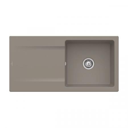 Villeroy&Boch Siluet 60 Flat Zlewozmywak ceramiczny 1-komorowy CeramicPlus 98x49 cm na równi z blatem, z ociekaczem, jasnobrązowy, drewniany Timber 33361FTR