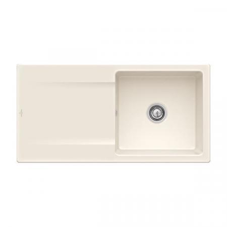 Villeroy&Boch Siluet 60 Flat Zlewozmywak ceramiczny 1-komorowy CeramicPlus 98x49 cm na równi z blatem, z ociekaczem, kremowy Crema 33361FKR