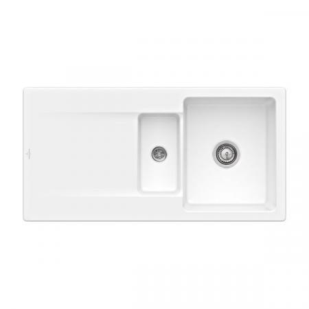 Villeroy&Boch Siluet 60 R Flat Zlewozmywak ceramiczny 1,5-komorowy CeramicPlus 98x49 cm na równi z blatem, z ociekaczem, biały Snow White 33371FKG