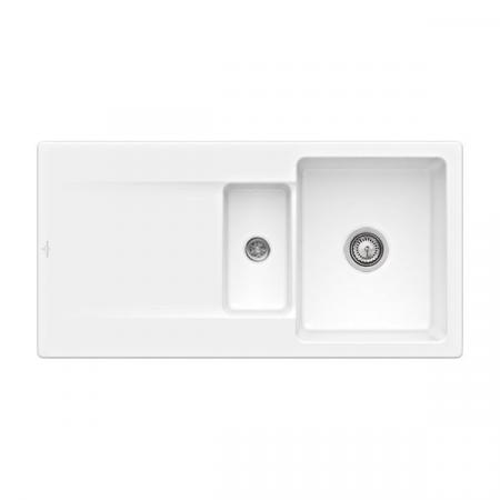 Villeroy&Boch Siluet 60 R Flat Zlewozmywak ceramiczny 1,5-komorowy CeramicPlus 98x49 cm na równi z blatem, z ociekaczem, biały Weiss Alpin 33371FR1