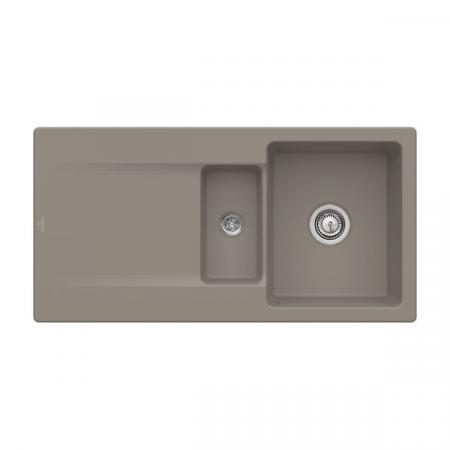 Villeroy&Boch Siluet 60 R Flat Zlewozmywak ceramiczny 1,5-komorowy CeramicPlus 98x49 cm na równi z blatem, z ociekaczem, jasnobrązowy, drewniany Timber 33371FTR