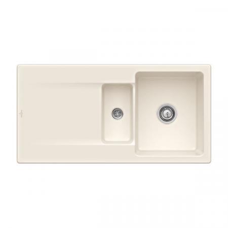 Villeroy&Boch Siluet 60 R Flat Zlewozmywak ceramiczny 1,5-komorowy CeramicPlus 98x49 cm na równi z blatem, z ociekaczem, kremowy Crema 33371FKR