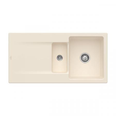 Villeroy&Boch Siluet 60 R Flat Zlewozmywak ceramiczny 1,5-komorowy CeramicPlus 98x49 cm na równi z blatem, z ociekaczem, kremowy Ivory 33371FFU