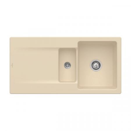 Villeroy&Boch Siluet 60 R Zlewozmywak ceramiczny 1,5-komorowy CeramicPlus 100x51 cm do wbudowania, z ociekaczem, piaskowy Sand 333701i5