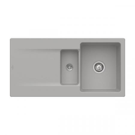 Villeroy&Boch Siluet 60 R Zlewozmywak ceramiczny 1,5-komorowy CeramicPlus 100x51 cm do wbudowania, z ociekaczem, szary Fossil 333701KD