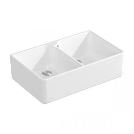Villeroy&Boch Sink Unit 80 X Zlewozmywak ceramiczny dwukomorowy CeramicPlus 79,5x50 cm biały Stone White 638001RW