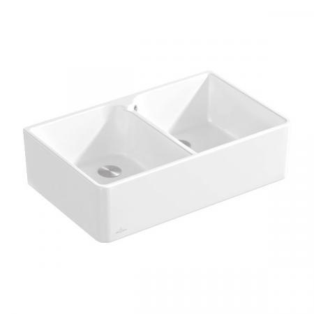 Villeroy&Boch Sink Unit 80 X Zlewozmywak ceramiczny dwukomorowy CeramicPlus 79,5x50 cm biały Weiss Alpin 638001R1
