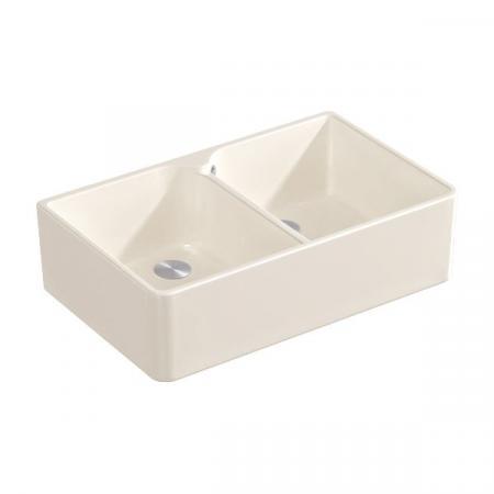 Villeroy&Boch Sink Unit 80 X Zlewozmywak ceramiczny dwukomorowy CeramicPlus 79,5x50 cm kremowy Crema 638001KR