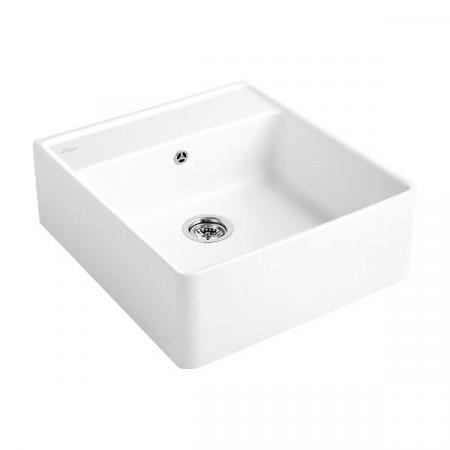 Villeroy&Boch Sink Unit Zlewozmywak ceramiczny jednokomorowy CeramicPlus 59,5x63 cm z korkiem pop-up, podblatowy, bez ociekacza, biały Weiss Alpin 632062R1