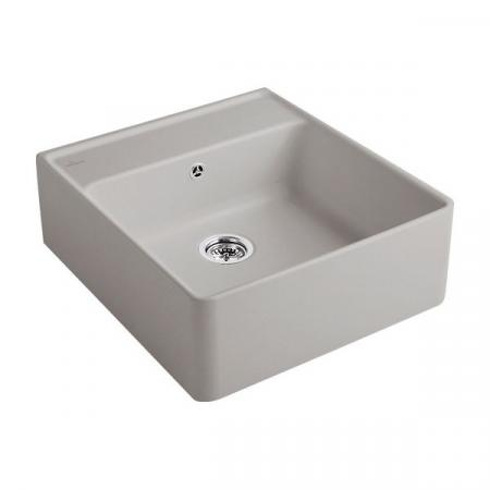 Villeroy&Boch Sink Unit Zlewozmywak ceramiczny 1-komorowy CeramicPlus 59,5x63 cm z korkiem pop-up, podblatowy, bez ociekacza, szary Fossil 632062KD