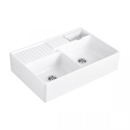 Villeroy&Boch Sink Unit Zlewozmywak ceramiczny dwukomorowy CeramicPlus 89,5x63 cm biały Snow White 632391KG