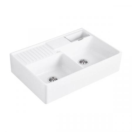 Villeroy&Boch Sink Unit Zlewozmywak ceramiczny dwukomorowy CeramicPlus 89,5x63 cm biały Stone White 632391RW