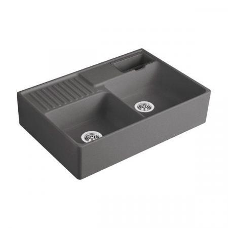 Villeroy&Boch Sink Unit Zlewozmywak ceramiczny dwukomorowy CeramicPlus 89,5x63 cm grafitowy Graphite 632391i4