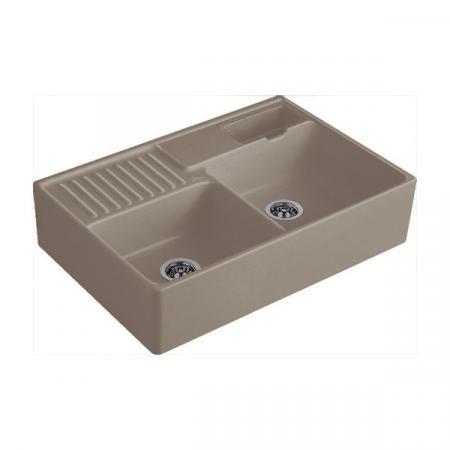 Villeroy&Boch Sink Unit Zlewozmywak ceramiczny dwukomorowy CeramicPlus 89,5x63 cm jasnobrązowy drewniany Timber 632391TR
