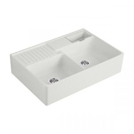 Villeroy&Boch Sink Unit Zlewozmywak ceramiczny dwukomorowy CeramicPlus 89,5x63 cm jasnoszary Steam 632391SM