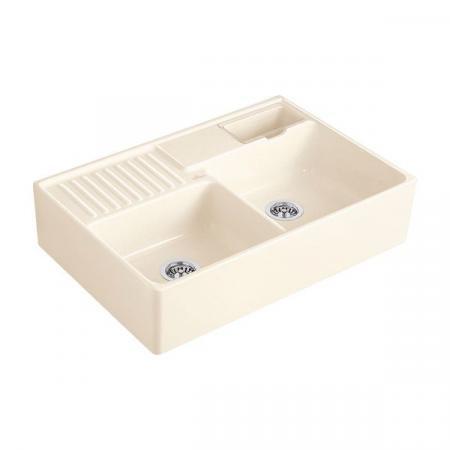 Villeroy&Boch Sink Unit Zlewozmywak ceramiczny dwukomorowy CeramicPlus 89,5x63 cm kremowy Crema 632391KR