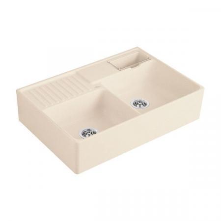 Villeroy&Boch Sink Unit Zlewozmywak ceramiczny dwukomorowy CeramicPlus 89,5x63 cm kremowy Ivory 632391FU