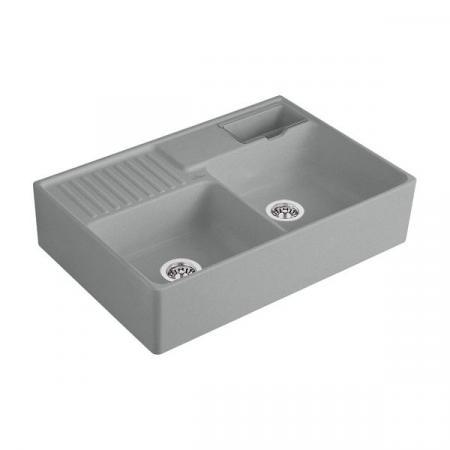 Villeroy&Boch Sink Unit Zlewozmywak ceramiczny dwukomorowy CeramicPlus 89,5x63 cm szary Stone 632391SL
