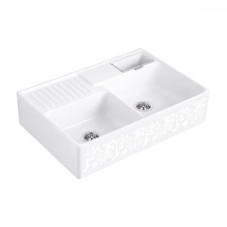Villeroy&Boch Sink Unit Zlewozmywak ceramiczny 2-komorowy CeramicPlus 89,5x63 cm z korkiem pop-up, podblatowy, bez ociekacza, biały, perłowy, dekor White Pearl 632392KT
