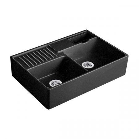 Villeroy&Boch Sink Unit Zlewozmywak ceramiczny 2-komorowy CeramicPlus 89,5x63 cm z korkiem pop-up, podblatowy, bez ociekacza, czarny Chromit 632392J0