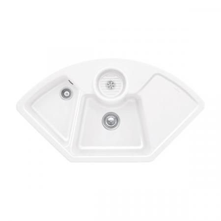Villeroy&Boch Solo corner Zlewozmywak ceramiczny dwukomorowy CeramicPlus 107,5x60 cm narożny biały Snow White 670801KG